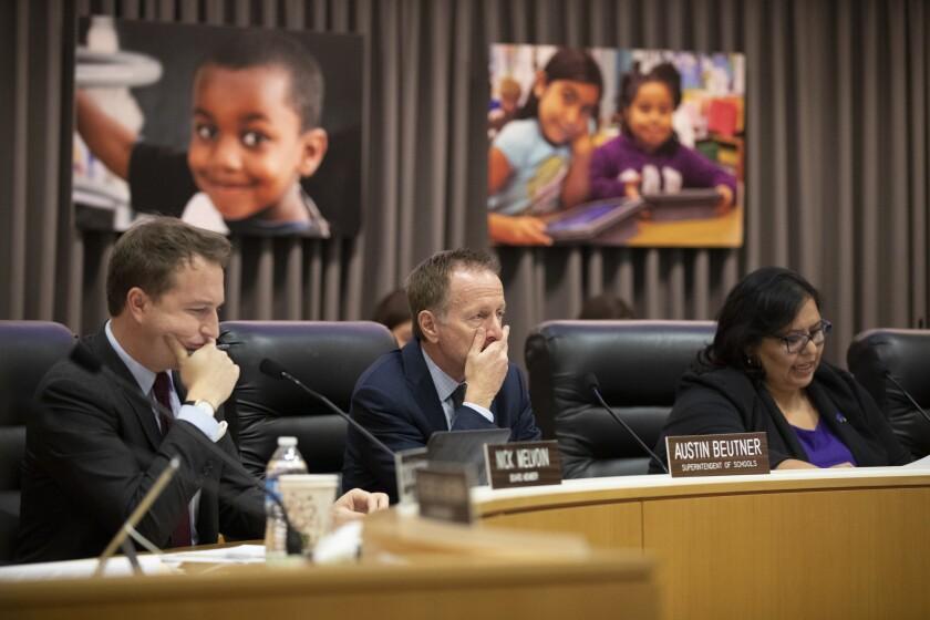 L.A. school board member Nick Melvoin, left, and Supt. Austin Beutner