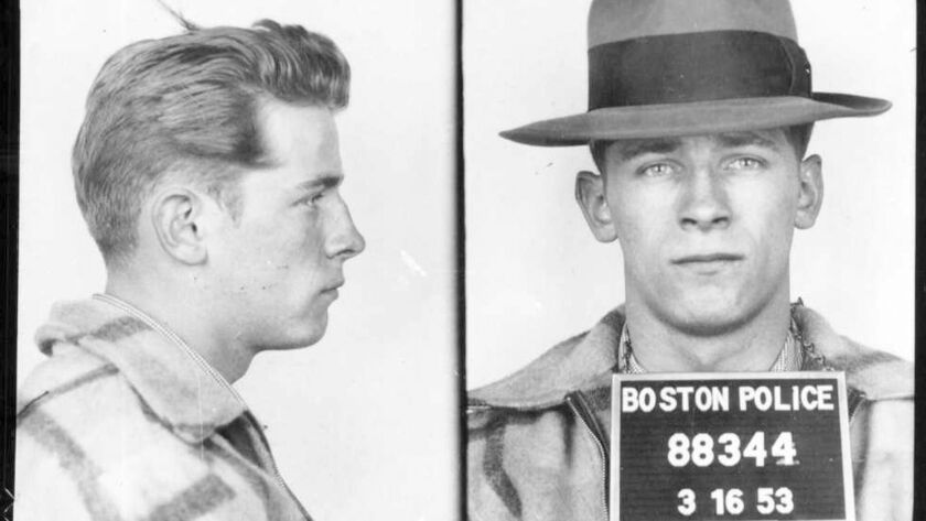 "James ""Whitey"" Bulger in a 1953 booking photo."