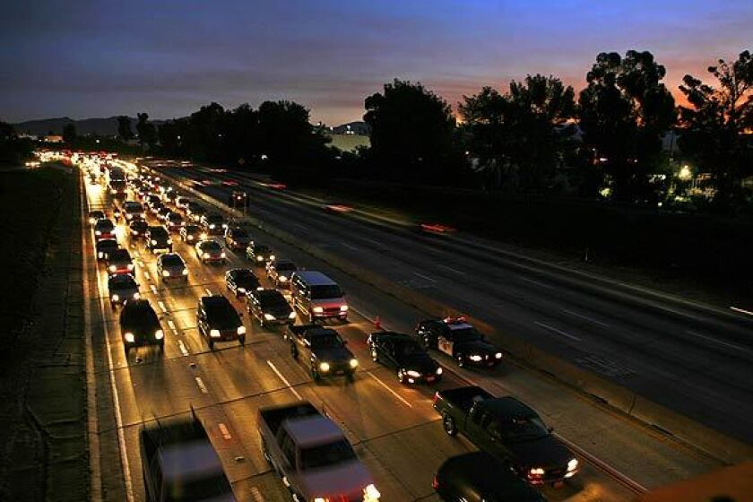 Early morning traffic on the 405 Freeway