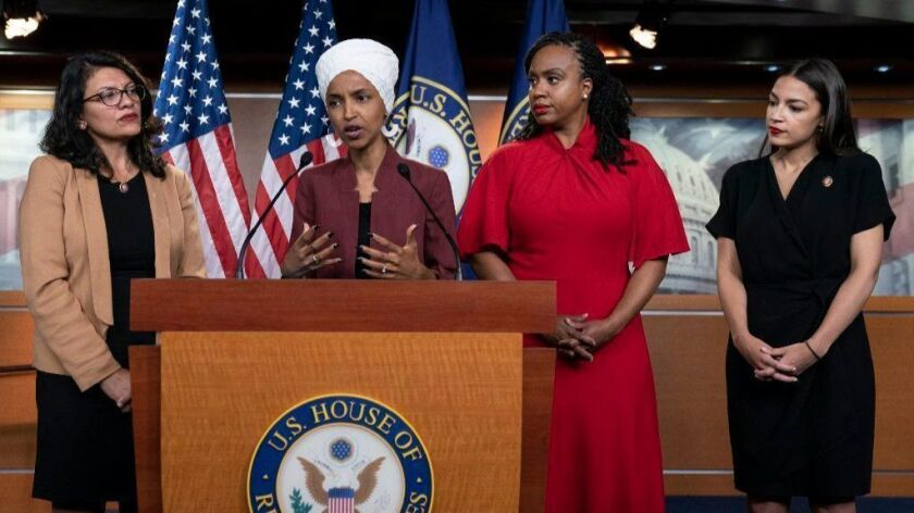 """Reps. Rashida Tlaib (D-Mich.), Ilhan Omar (D-Minn.), Ayanna Pressley (D-Mass.) and Alexandria Ocasio-Cortez (D-N.Y.) held a news conference in the Capitol on Monday to respond to President Trump's tweet that they should go back to their """"broken"""" countries."""