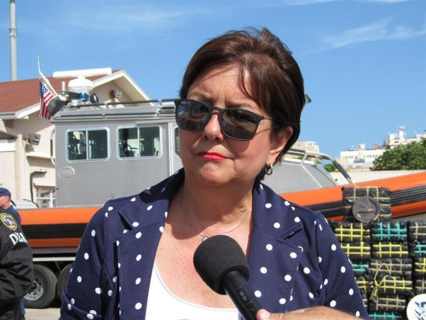 La jefa de la Fiscalía Federal en San Juan, Rosa Emilia Rodríguez, habla durante una rueda de prensa en San Juan. EFE/Archivo