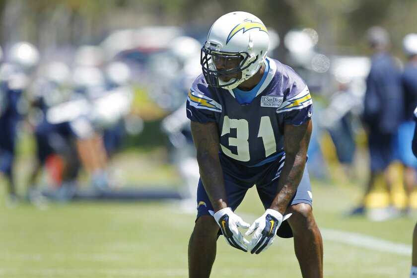 Chargers cornerback Richard Marshall (31) practices during mini camp.