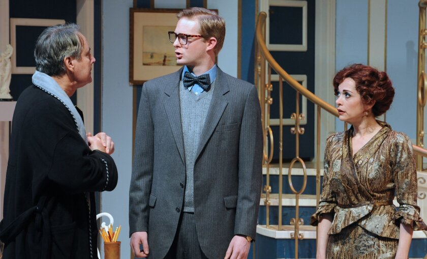 """David Cochran Heath, Brian Mackey and Jessica John (left to right) in Moonlight Stage Productions' """"Born Yesterday."""""""