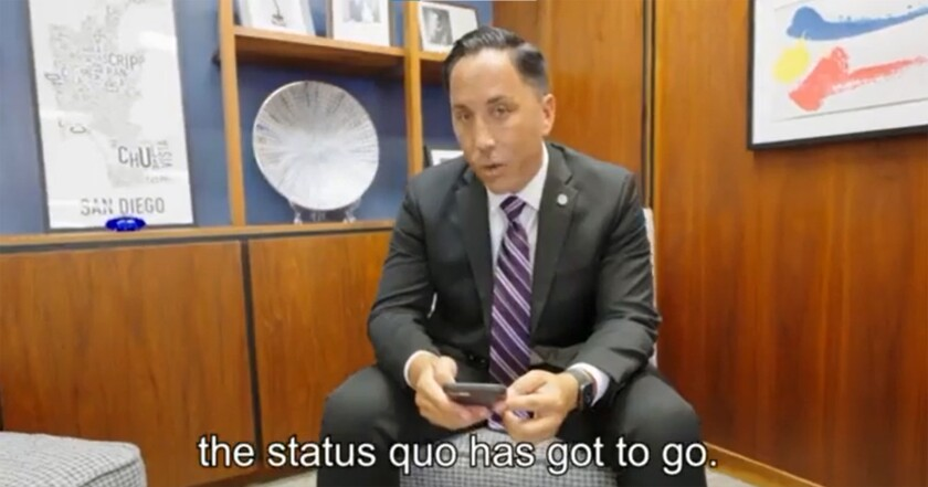 A screenshot from a video of San Diego Mayor Todd Gloria lip-synching about city issues.