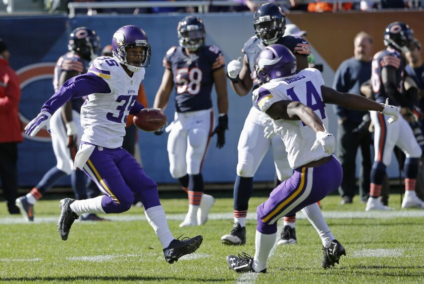 Minnesota Vikings'  Marcus Sherels (35) celebrates with Stefon Diggs (14) after returning a punt for a touchdown during the first half of an NFL football game against the Chicago Bears, Sunday, Nov. 1, 2015, in Chicago. (AP Photo/Charles Rex Arbogast)
