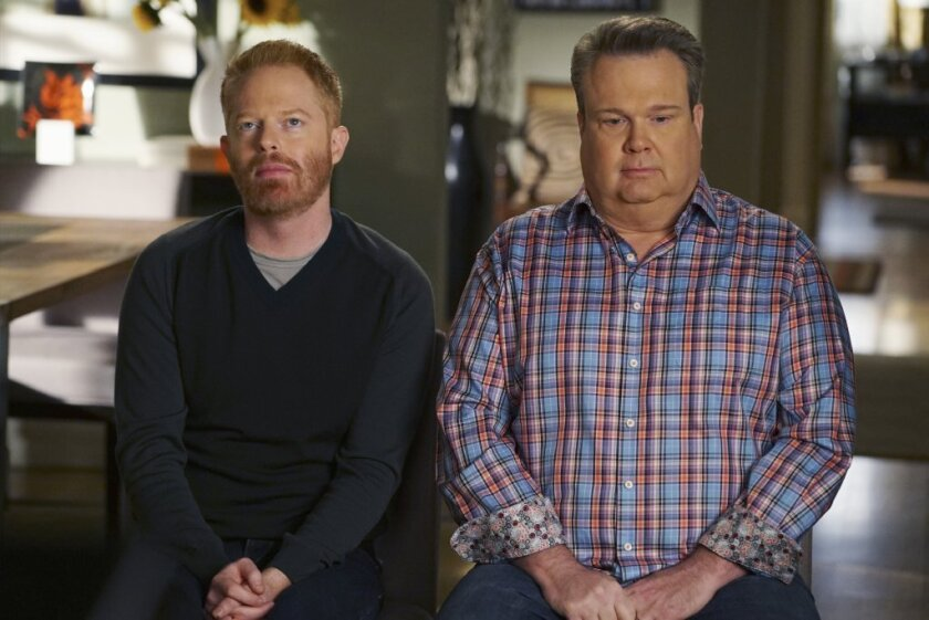 "Jesse Tyler Ferguson, left, and Eric Stonestreet of ""Modern Family."" Their blase expressions seem to match the reaction to the prospect of the show winning a sixth straight Emmy."