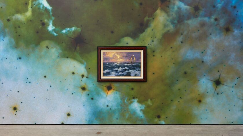"""""""Perseverance"""" by Thomas Kinkade hangs on """"Negative Space,"""" a wallpaper designed by artist Mungo Tho"""