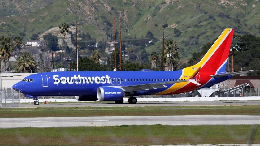BURBANK, CALIF. -- WEDNESDAY, MARCH 13, 2019: A Southwest Airlines Boeing 737 Max 8 plane is ground