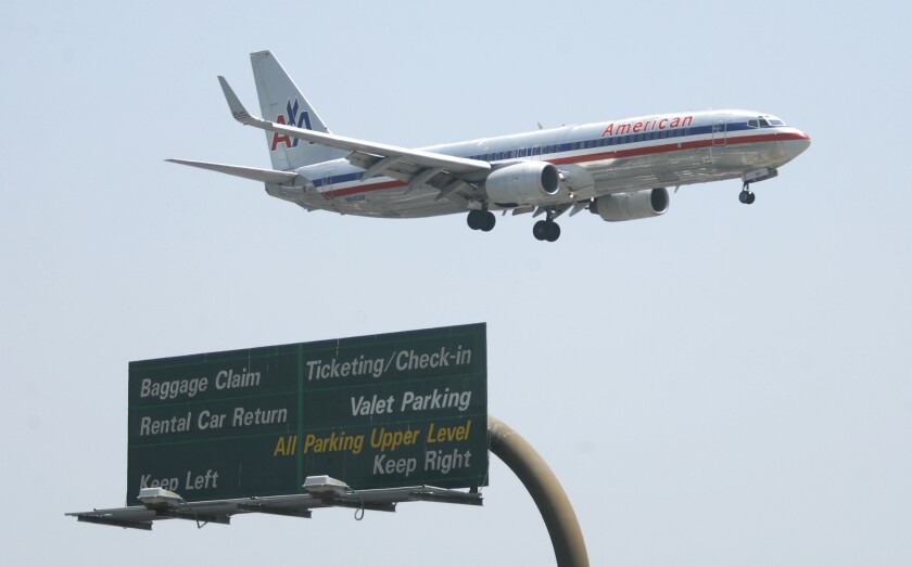 American Airlines flight prepares to land