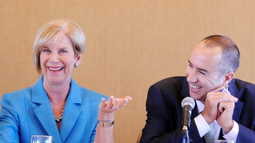 Supervisorial candidates Janice Hahn and Steve Napolitano at a debate in May.