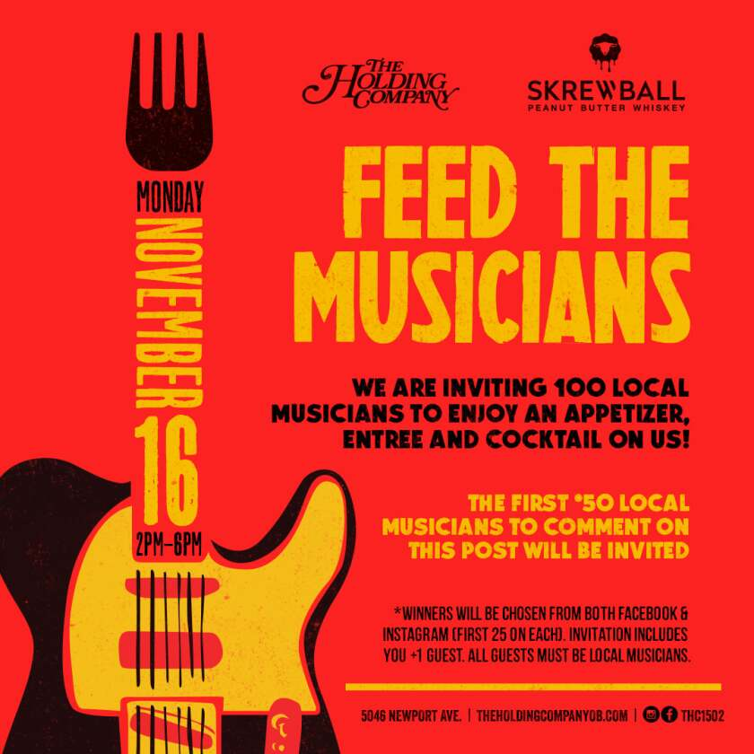 A flyer for Feed the Musicians, an initiative from Skrewball Whiskey and The Holding Company.