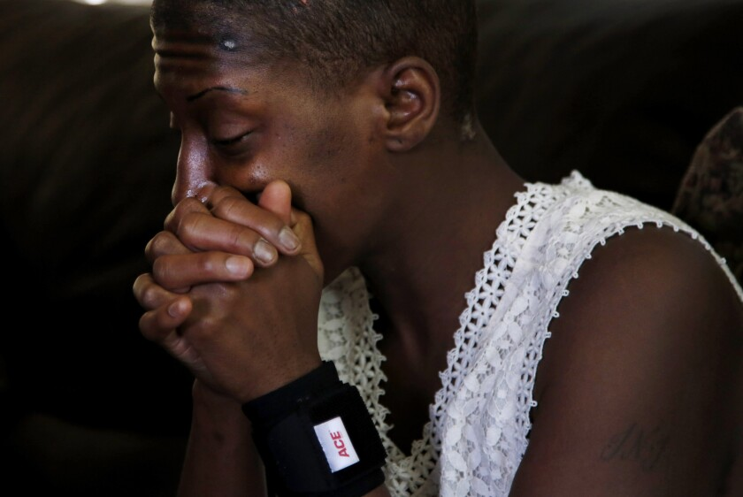 Trishawn Carey at the sober living center in South Los Angeles where she is staying after getting out of jail on bail.