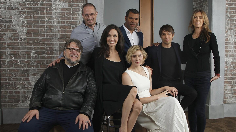 Directors Guillermo Del Toro, Darren Aronosfsky, Angelina Jolie, Jordan Peele, Greta Gerwig, Sean Baker and Kathryn Bigelow at the Envelope roundtable.