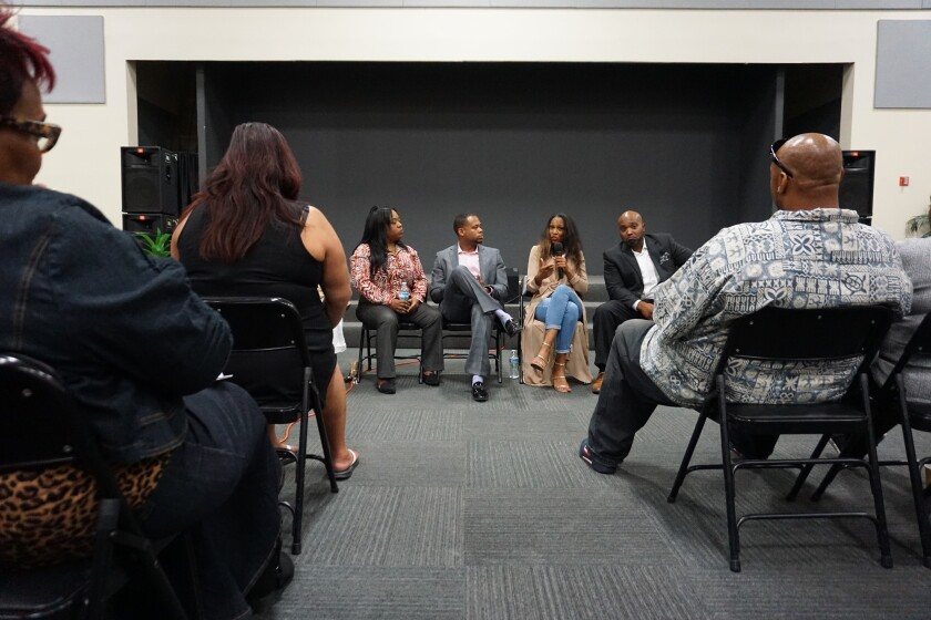 From left: Lailia Aziz, Armand King, D'Lita Miller and Jay Bowser discuss the impact of sex trafficking in community of color in San Diego on Tuesday, Oct. 29, at Bayview Baptist Church in Encanto.