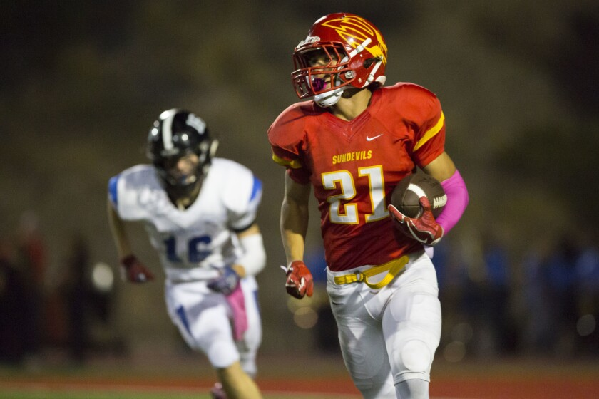 Mt. Carmel will be counting on running back Ty Virgin when the Sundevils travel to El Centro to take on Central in the first round of the San Diego Section Division III playoffs.