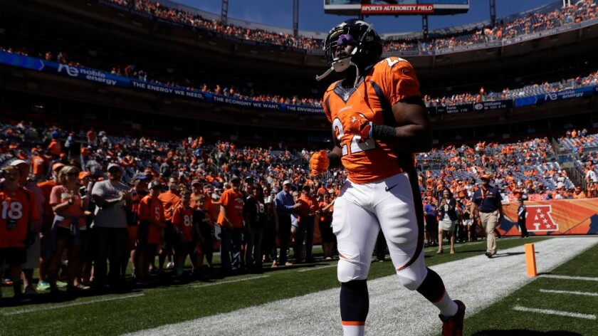 Denver running back C.J. Anderson heads to the locker room before a game against the Colts on Sept. 18.