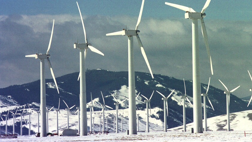 Wind turbines spin at the Foote Creek Rim site in Carbon County, Wyo.