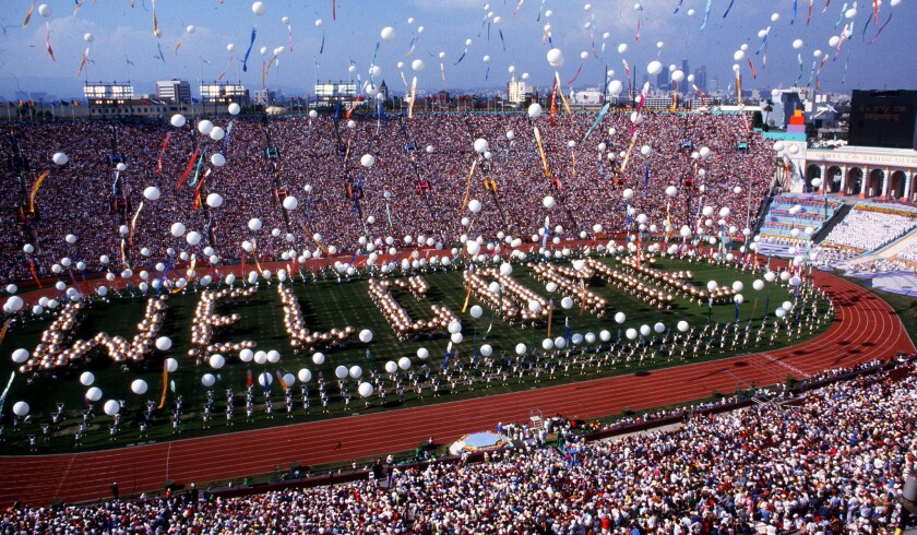 Balloons are released at the Coliseum during opening ceremonies of the 1984 Olympic Games.