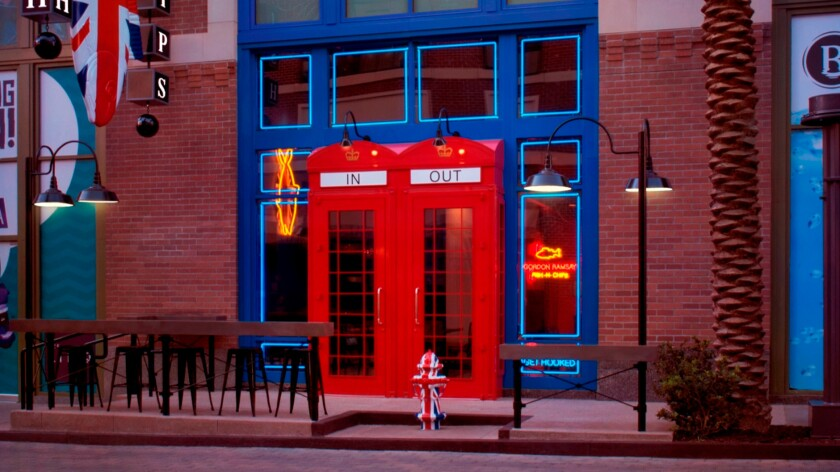 The doors at Gordon Ramsay Fish & Chips resemble old-fashioned British phone booths. The eatery is the celebrity chef's fourth along the Strip.