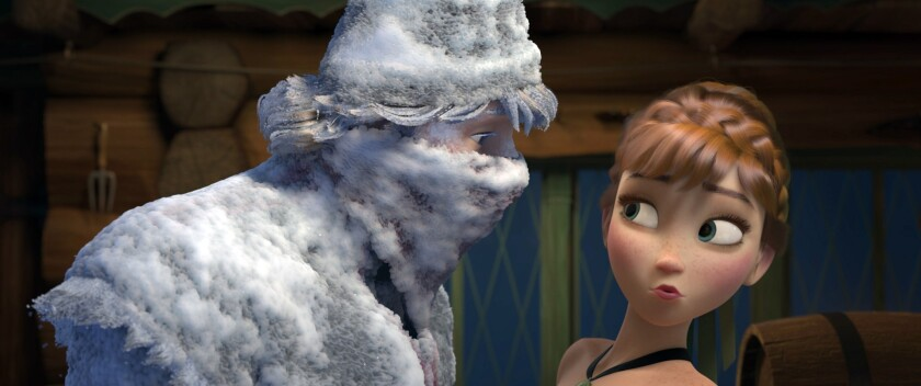 """Fearless optimist Anna meets rugged-and snow-covered-mountain man Kristoff for the first time in Walt Disney Animation Studio's """"Frozen."""""""