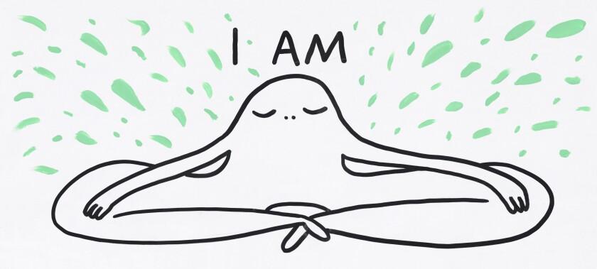 Una figura está sentada en meditación.