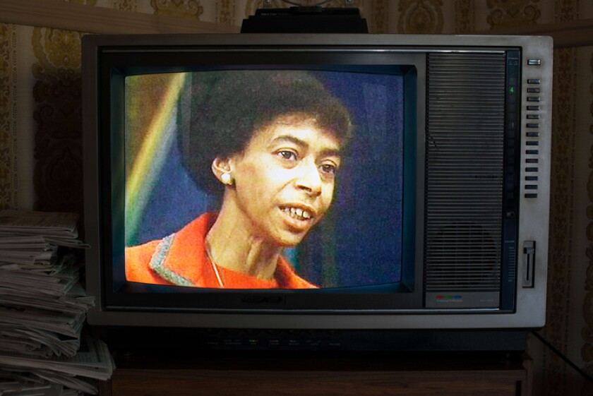 Marion Stokes appears on a television monitor in the documentary 'Recorder: The Marion Stokes Project'