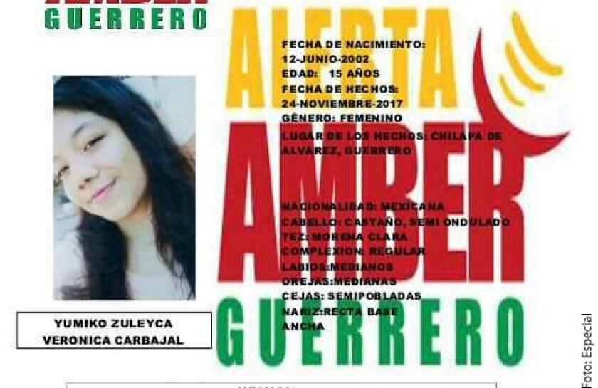 Desde hace tres días, una adolescente de 15 años está desaparecida en Chilapa, por lo que las autoridades estatales emitieron la alerta Amber para su localización.
