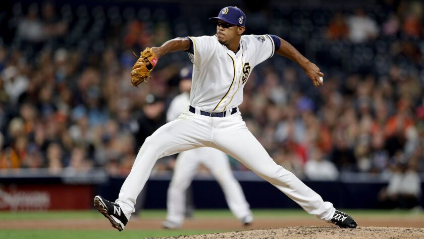 San Diego Padres relief pitcher Jose Torres works against a San Francisco Giants batter during the ninth inning of a baseball game Thursday, Sept. 22, 2016, in San Diego. (AP Photo/Gregory Bull)