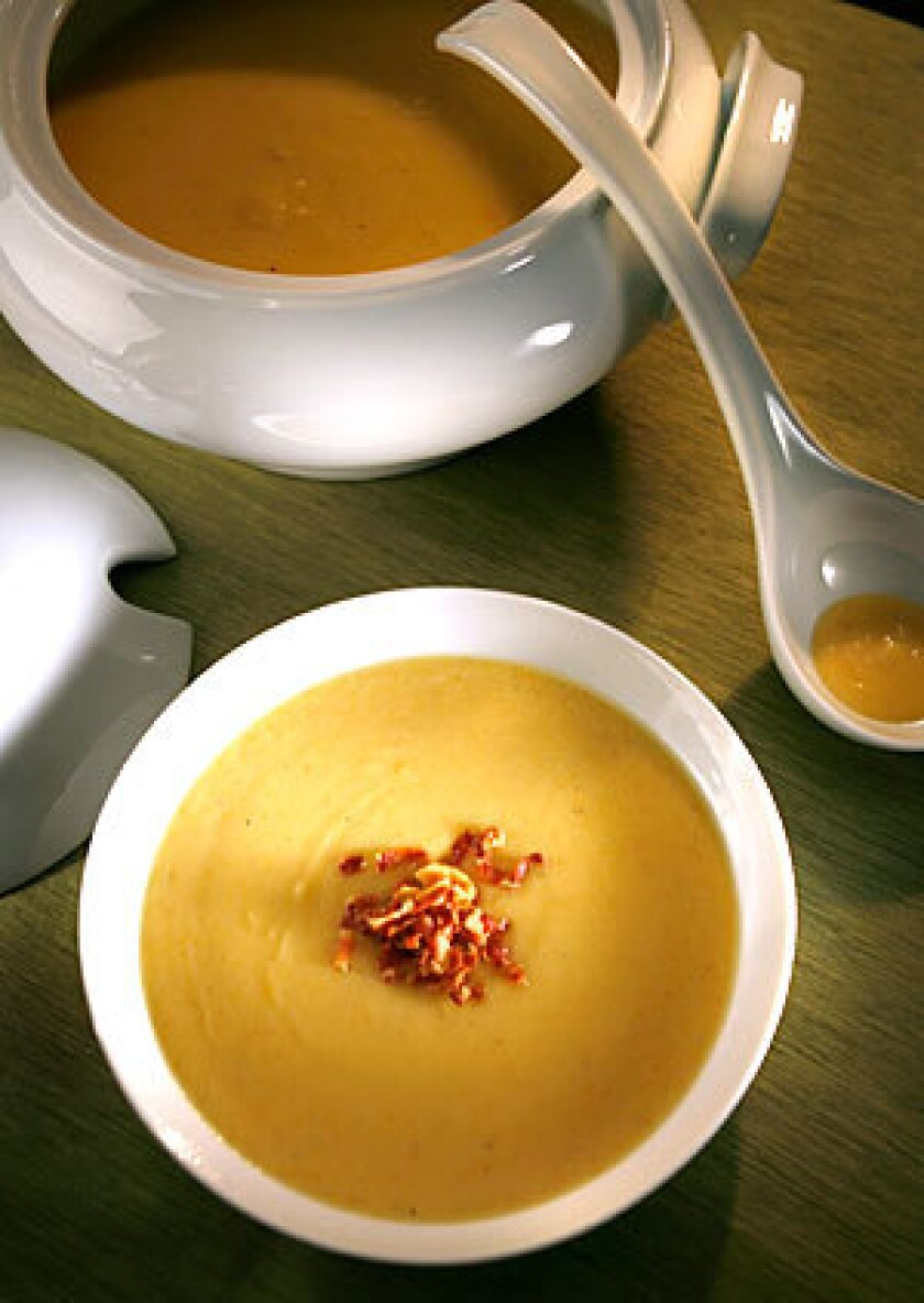 Cream of parsnip soup with crisp-fried pancetta