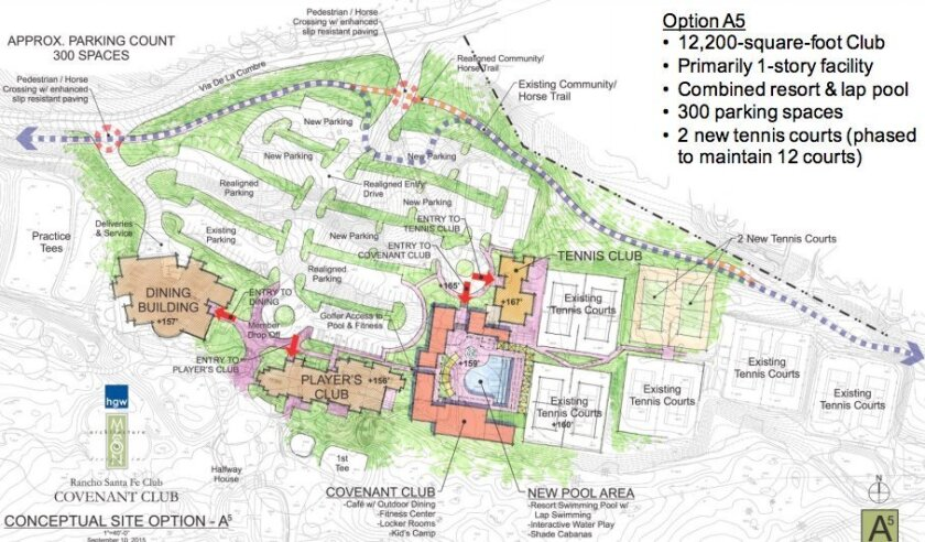 The Rancho Santa Fe Covenant Club design committee decided on a 12,200 square foot facility on the golf and tennis club campus. Courtesy rendering