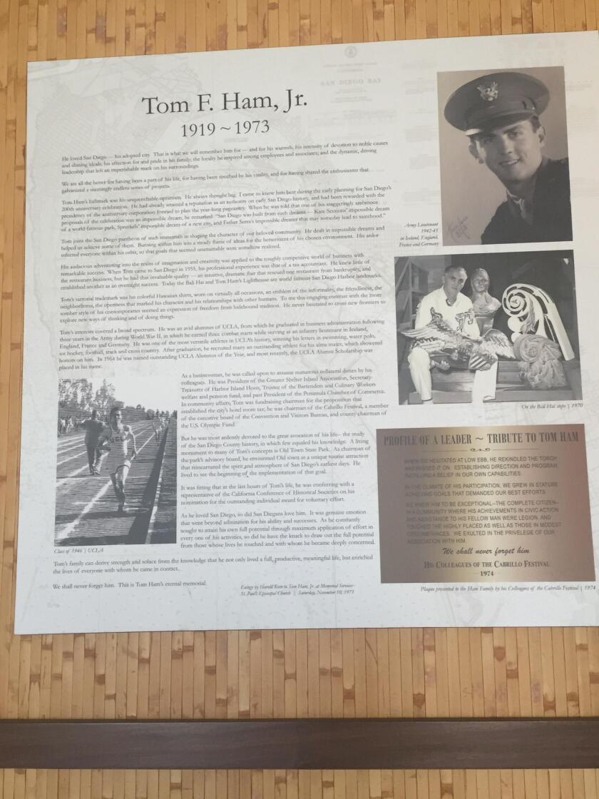 A tribute to the original owner, Tom F. Ham, Jr.