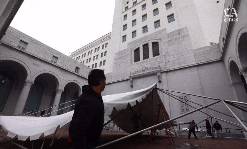 Tent for public at L.A. City Hall during council meeting