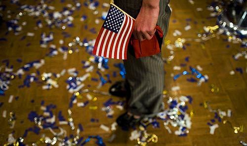 Confetti litters the floor of a hotel ballroom in Nashua, N.H., after Sen. John McCain's victory party.
