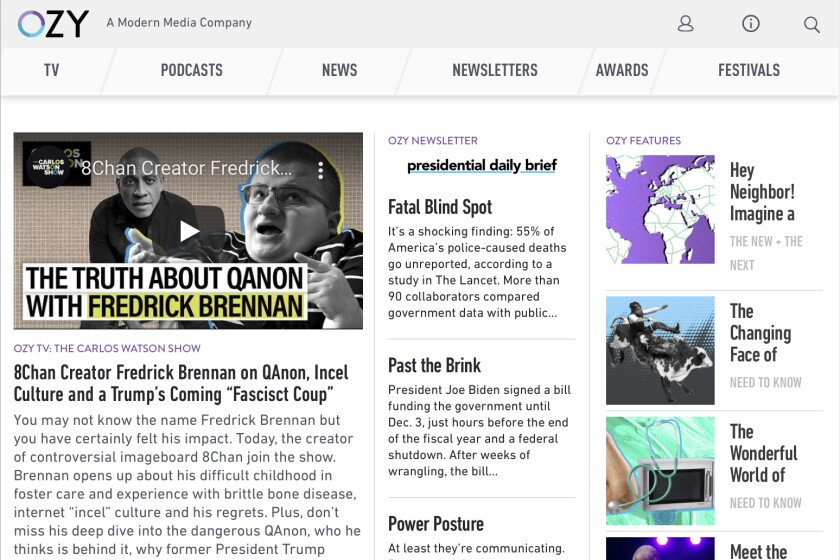 """This Monday, Oct. 4, 2021 image shows part of the OZY.com website. On Monday, Carlos Watson, the CEO of Ozy Media, said it had been """"premature"""" to shut down and that he wants to keep operating, despite a scandal-ridden week that exposed Ozy as a media company without much of an audience. (AP Photo)"""