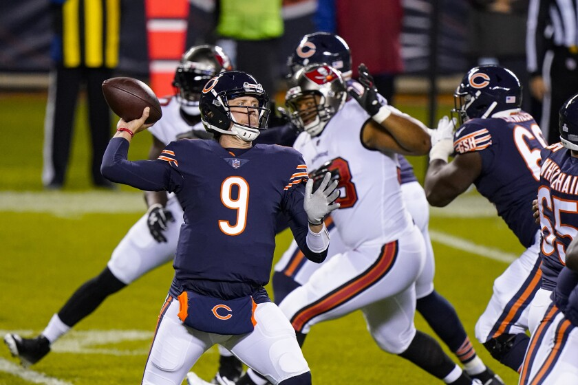 Chicago Bears quarterback Nick Foles throws in the first half against the Tampa Bay Buccaneers.