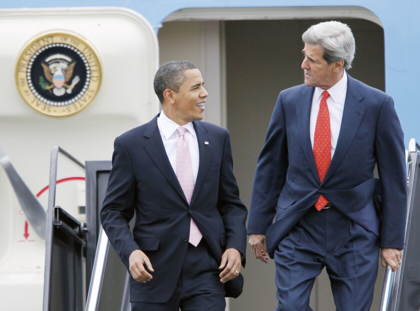 President Obama is seen with then Sen. John Kerry (D-Mass.) arriving at Logan International Airport in Boston in 2009. Kerry is now Secretary of State.