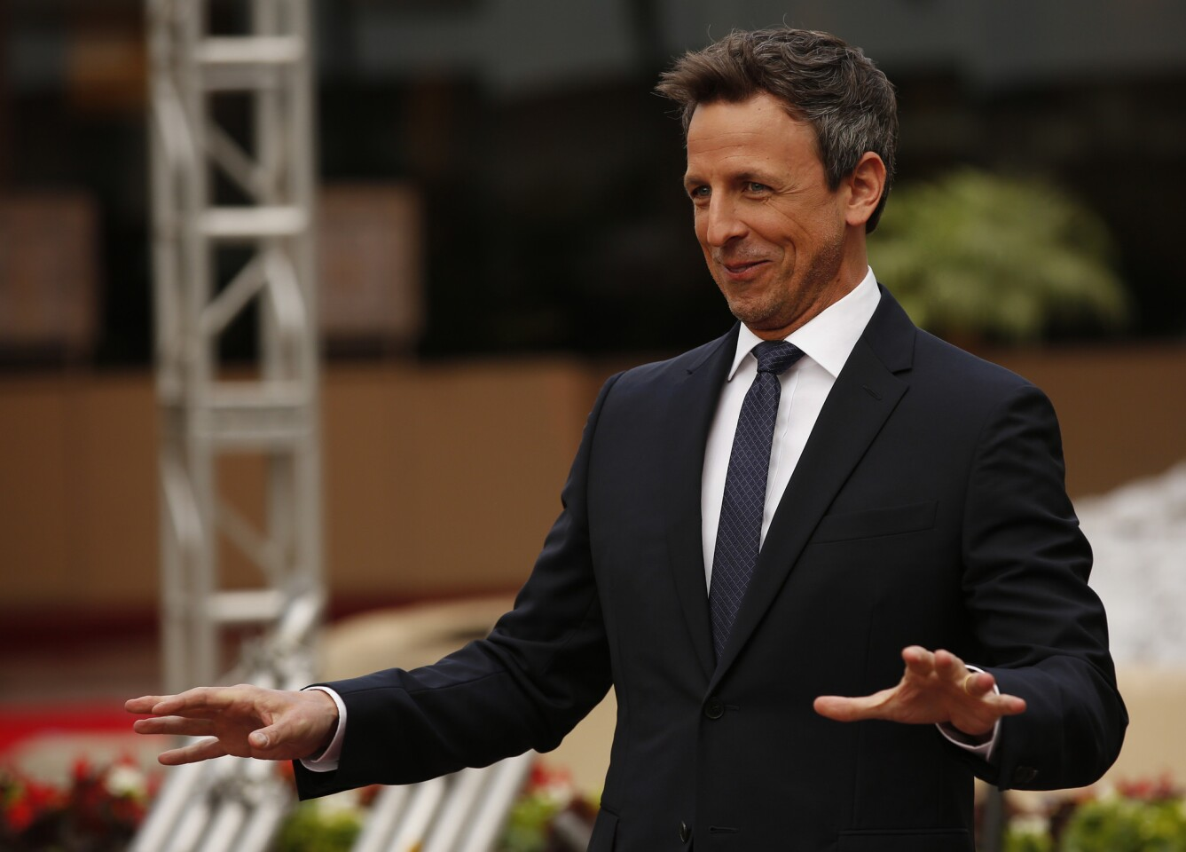 Seth Meyers at the Golden Globes' preview day on Thursday at the Beverly Hilton Hotel in Beverly Hills. Meyers will host Saturday's awards show.