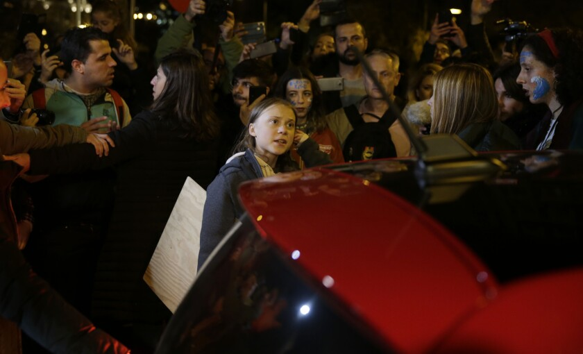 Greta Thunberg among a crowd