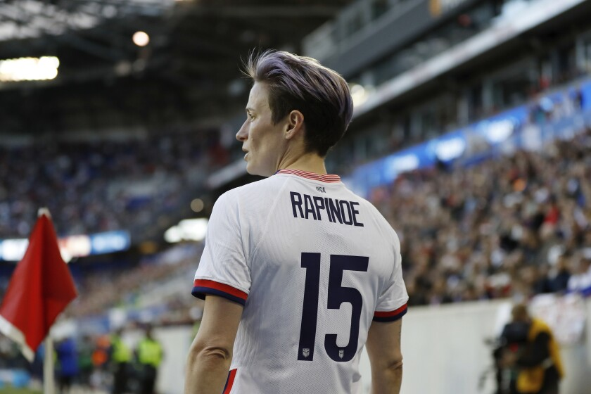 U.S. soccer star Megan Rapinoe prepares for a corner kick during a SheBelieves Cup game March 8, 2020, in Harrison, N.J.