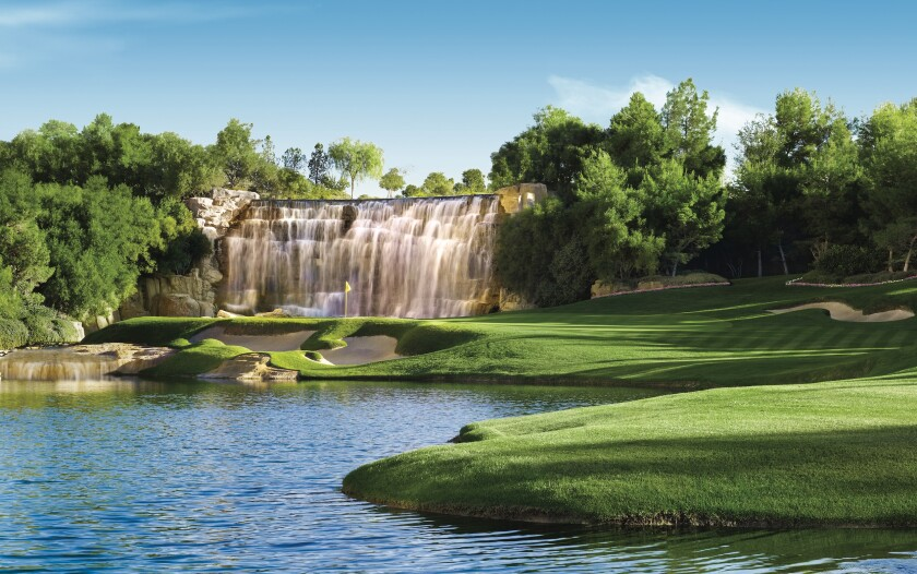 The 18th hole on Wynn Las Vegas' new golf course finishes with a dramatic waterfall and a cash prize to anyone who cards a hole-in-one.