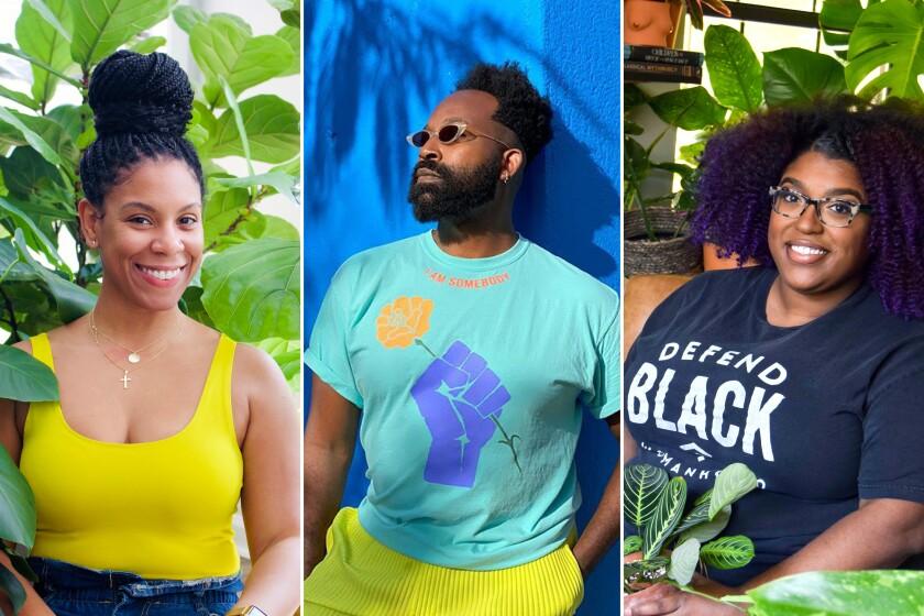Plantfluencers Katura Barnes (@terracottahotties), Maurice Harris (@bloomandplume), Stephanie Horton (@botanicalblackgirl).