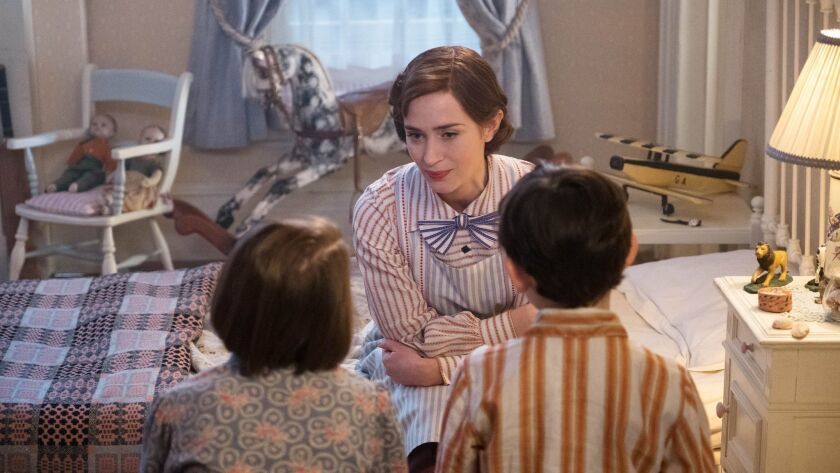 "Emily Blunt appears in a scene from Disney's ""Mary Poppins Returns."""