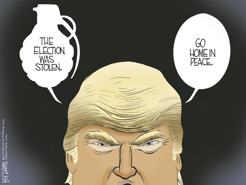 Trump tells followers the election was stolen in a word bubble shaped like a grenade in this Breen cartoon