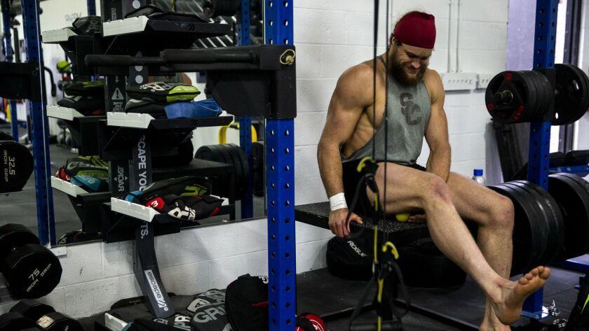 Porter Gustin goes through his post-workout routine.