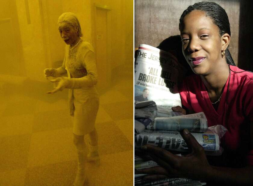Marcy Borders covered in dust in the doomed World Trade Center on Sept. 11, 2001, and, at right, weeks later at her home in New Jersey.