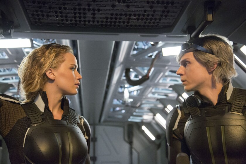 """Jennifer Lawrence and Evan Peters in """"X-Men: Apocalypse."""""""