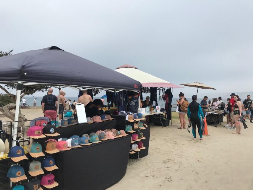 Vendors set up at Scripps Park next to La Jolla Cove.