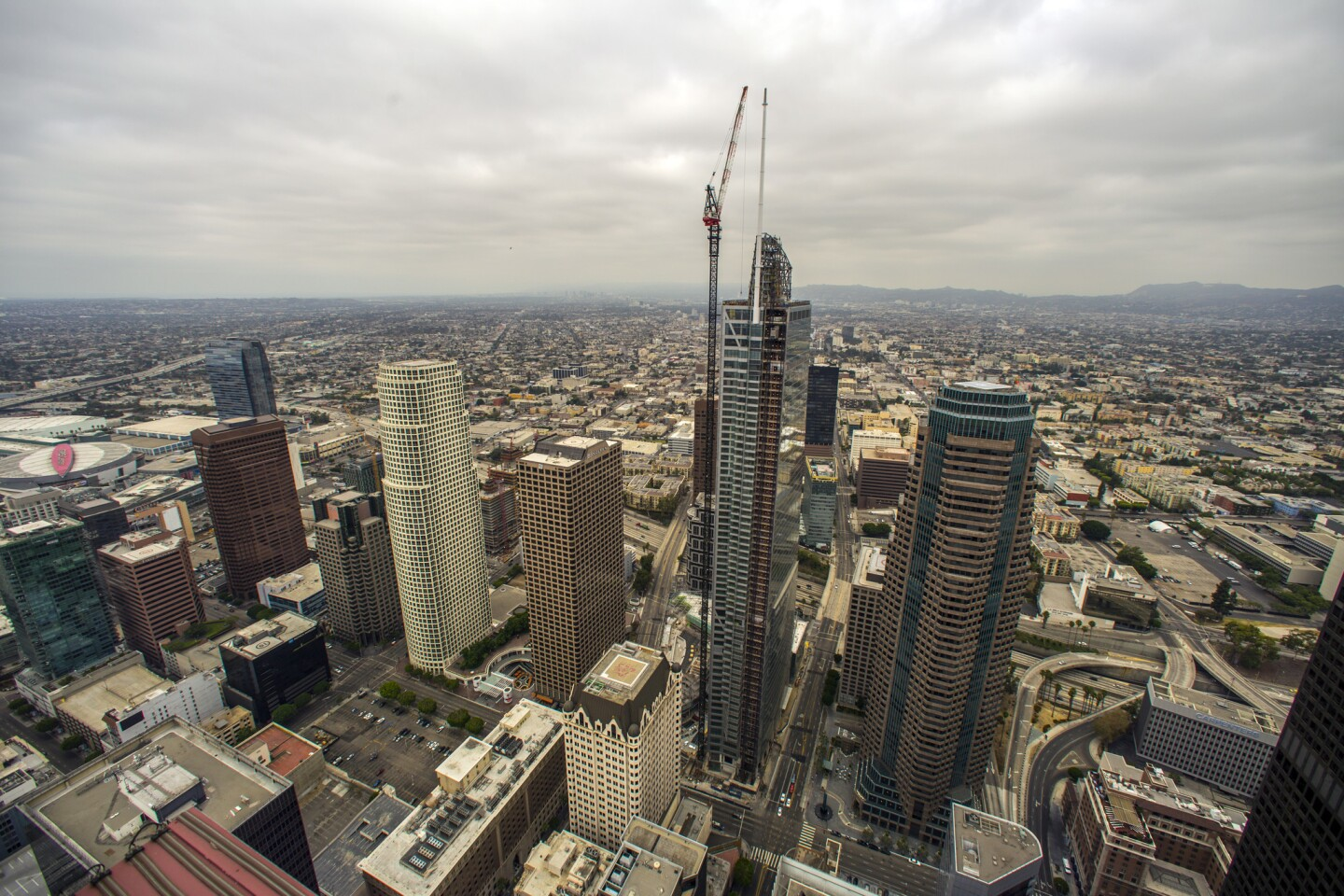 The installation of the spire atop L.A.'s 73-story Wilshire Grand, the tallest skyscraper in the West, in September 2016.