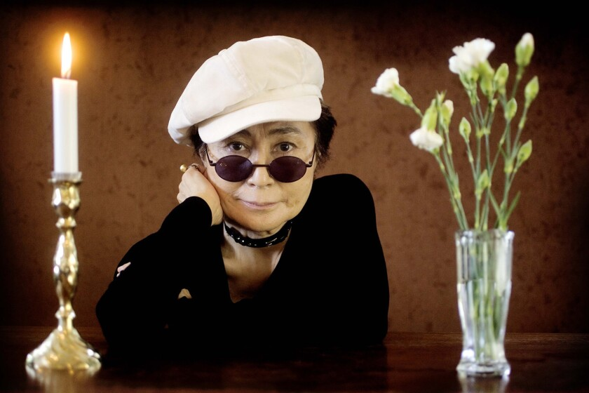 "Artist Yoko Ono poses as she promotes her exhibition ""Women's Room"" at the Women's Museum in Aarhus,"