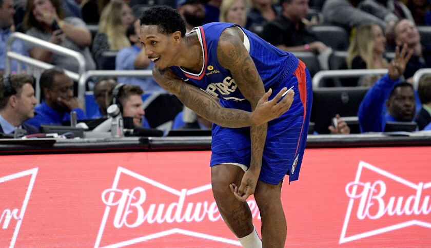 Los Angeles Clippers guard Lou Williams celebrates after scoring a three-pointer during the second h